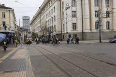 SOFIA, BULGARIA - APRIL 14, 2016: Downtown of Sofia, is the larg Stock Image
