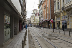 SOFIA, BULGARIA - APRIL 14, 2016: Downtown of Sofia, is the larg Royalty Free Stock Photography