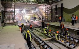 Sofia, Bulgaria - April 19, 2016: The railroad of the subway during the final steps of the tunnel construction. Stock Photography