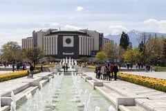 Spring view of flower garden in front of National Palace of Culture, Bulgaria. SOFIA, BULGARIA -APRIL 21, 2019: Spring view of flower garden in front of National stock photo