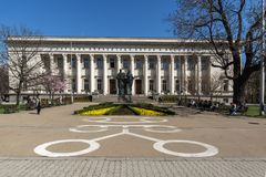 Spring view of National Library St. Cyril and St. Methodius in Sofia, Bulgaria. SOFIA, BULGARIA - APRIL 1, 2017: Spring view of National Library St. Cyril and St Royalty Free Stock Photo