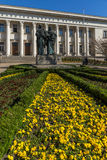 SOFIA, BULGARIA - APRIL 1, 2017: Spring view of National Library St. Cyril and St. Methodius in Sofia Royalty Free Stock Photos