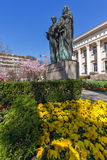 SOFIA, BULGARIA - APRIL 1, 2017: Spring view of National Library St. Cyril and St. Methodius in Sofia Stock Photos