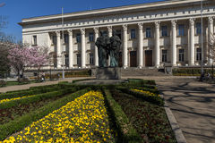 SOFIA, BULGARIA - APRIL 1, 2017: Spring view of National Library St. Cyril and St. Methodius in Sofia Royalty Free Stock Images