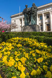 SOFIA, BULGARIA - APRIL 1, 2017: Spring view of National Library St. Cyril and St. Methodius in Sofia Royalty Free Stock Photo