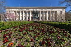 SOFIA, BULGARIA - APRIL 1, 2017: Spring view of National Library St. Cyril and St. Methodius in Sofia Stock Images