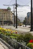 SOFIA, BULGARIA, APRIL 14, 2016: Traffic on the lions bridge in Stock Photo