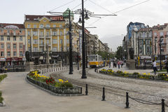 SOFIA, BULGARIA, APRIL 14, 2016: Traffic on the lions bridge in Stock Image