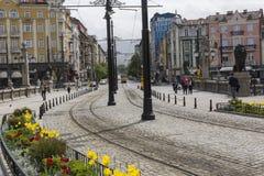 SOFIA, BULGARIA, APRIL 14, 2016: Traffic on the lions bridge in Stock Photography