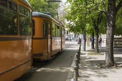 SOFIA, BULGARIA - APRIL 14, 2016 : Tranway and street scene of d Royalty Free Stock Photos
