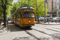 SOFIA, BULGARIA - APRIL 14, 2016 : Tranway and street scene of d Royalty Free Stock Image