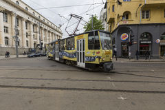 SOFIA, BULGARIA - APRIL 14, 2016 : Tranway and street scene of d Stock Images