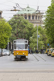 SOFIA, BULGARIA - APRIL 14, 2016 : Tranway and street scene of d Royalty Free Stock Photography
