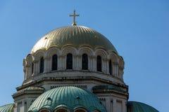 SOFIA, BULGARIA - 1° APRILE 2017: Le cupole dorate del san Alexander Nevski della cattedrale a Sofia Fotografia Stock Libera da Diritti