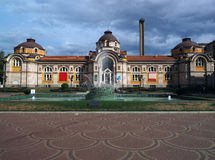 Sofia Bulgaria beautiful public mineral bathes building with fou. Ntain Royalty Free Stock Images