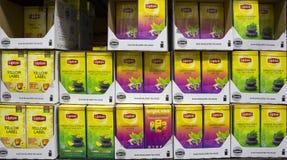 Lipton Tea Boxes. Sofia, Bulgaria - 19 December 2018: Different sorts of Lipton Tea Boxes on a shelf stock photography
