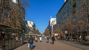SOFIA, BULGARIA - 20 DICEMBRE 2016: Gente di camminata sul boulevard di Vitosha in città di Sofia Fotografia Stock Libera da Diritti