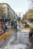 SOFIA, BULGARIA - FEBRUARY 5, 2017: Walking people on Boulevard Vitosha in Winter in city of Sofia Royalty Free Stock Image