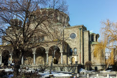 SOFIA, BULGARIA - FEBRUARY 5, 2017:  Winter view of Cathedral Church St. Nedelya in  Sofia Royalty Free Stock Photo