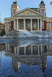 SOFIA, BULGARIA - FEBRUARY 5, 2017: Winter view of National Theatre Ivan Vazov in Sofia Royalty Free Stock Image
