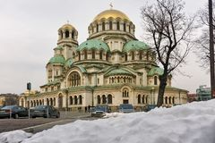 SOFIA, BULGARIA - JANUARY 31, 2016:  Amazing view of Cathedral Saint Alexander Nevski in Sofia Stock Photography
