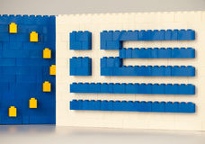 Sofia, Bulgaria - July 15, 2015: Plastic LEGO blocks formations, showing national flag of Greece with European Union symbol Royalty Free Stock Photos