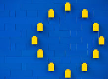 Sofia, Bulgaria - July 16, 2015: Plastic LEGO blocks pieces in structure that shows interpretation of main European Union symbol Royalty Free Stock Images
