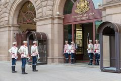 Sofia Bulgaria. SOFIA, BULGARIA - JUNE 8, 2018: Change of national guards at the office of Bulgaria`s President in Sofia, Bulgaria stock images