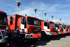 Sofia, Bulgaria - June 9, 2015: New fire trucks are presented to their firefighters Royalty Free Stock Images
