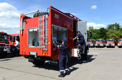 Sofia, Bulgaria - June 9, 2015: New fire trucks are presented to their firefighters Royalty Free Stock Image