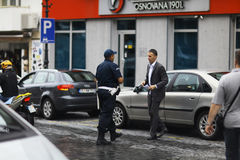 Sofia, BULGARIA -JUNE 14: Police stop offending on June 14, 2014 Royalty Free Stock Images