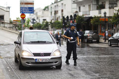 Sofia, BULGARIA -JUNE 14: Police stop offending on June 14, 2014 Royalty Free Stock Photo