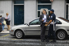 Sofia, BULGARIA -JUNE 14: Police stop offending on June 14, 2014 Royalty Free Stock Photos