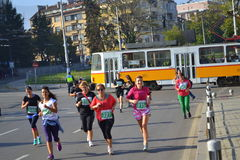 Sofia Bulgaria marathon women running Royalty Free Stock Photo