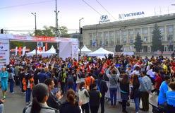 Sofia Bulgaria maraton Arkivfoton