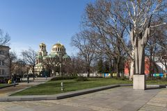 Amazing view of Cathedral Saint Alexander Nevski in Sofia, Bulgaria. SOFIA, BULGARIA - MARCH 17, 2018: Amazing view of Cathedral Saint Alexander Nevski in Sofia stock images