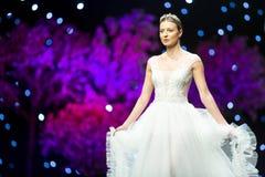Fashion show runway beautiful wedding dress Royalty Free Stock Photography