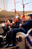 Jazz band. SOFIA, BULGARIA - MARCH 28: Jazz band performs in the air at new grand mall opening on March 28, 2013 in Sofia, Bulgaria Stock Photos