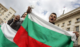 Bulgaria Protest Anti Government. Sofia, Bulgaria - Mart 10, 2013: Young demonstrators shout slogans against the government, high electricity bills, corruption Stock Photography