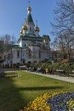 SOFIA, BULGARIA - 17 MARZO 2018: Vista stupefacente della chiesa russa delle cupole dorate a Sofia Immagine Stock
