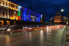 SOFIA, BULGARIA - MAY 8, 2018: Building of Council of Ministers in Sofia, Bulgaria. 3D Projection Mapping for the Day of Europe. Stock Photography