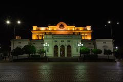SOFIA, BULGARIA - MAY 7, 2018: National assembly, Bulgarian parliament in Sofia, Bulgaria at night stock photography