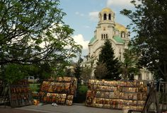 Sale of sacred icons in Sofia Stock Images