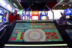 Digital modern roulette table monitor. Sofia, Bulgaria - 22 November 2017: Digital modern roulette table monitor is seen in a casino equipment exhibition in Stock Images