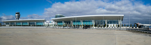 SOFIA, BULGARIA - NOVEMBER 2016: Exterior panorama of Sofia International Airport taken in Sofia, Bulgaria on November 13, 2016. Exterior panorama of Sofia Stock Photography