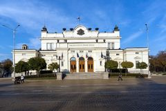 National Assembly in city of Sofia, Bulgaria. SOFIA, BULGARIA - NOVEMBER 7, 2017: National Assembly in city of Sofia, Bulgaria royalty free stock photos