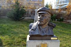 Sofia / Bulgaria - November 2017: A Soviet-era sculpted figure of Vladimir Lenin in front of the museum of socialist arts stock image