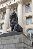 Statue of the Lion of the Palace Of Justice in city of Sofia, Bulgaria. SOFIA, BULGARIA -NOVEMBER 12, 2017: Statue of the Lion of the Palace Of Justice in city stock images