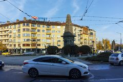 SOFIA, BULGARIA - NOVEMBER 7, 2017: Sunset view of Vasil Levski Monument in city of Sofia. Bulgaria Stock Images