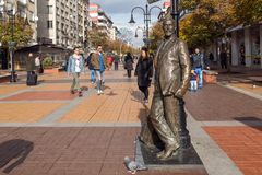 Walking people on Boulevard Vitosha in city of Sofia, Bulgaria Stock Photos